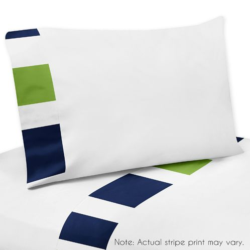 4 pc Queen Sheet Set for Navy Blue and Lime Green Stripe Bedding Collection - Click to enlarge
