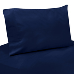 4 pc Queen Sheet Set for Navy Blue and Lime Green Stripe Bedding Collection - Solid Navy