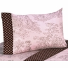 4 pc Queen Sheet Set for Pink and Brown Toile Bedding Collection