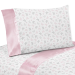 4 pc Queen Sheet Set for Pink and Gray Alexa Butterfly Bedding Collection