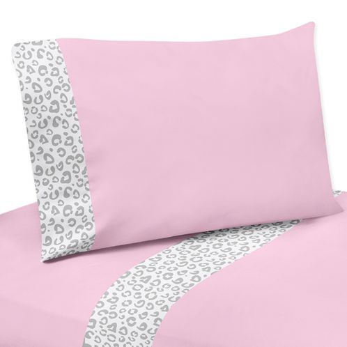 4 pc Queen Sheet Set for Pink and Gray Kenya Bedding Collection by Sweet Jojo Designs - Click to enlarge