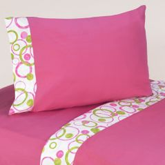 4 pc Queen Sheet Set for Pink and Green Mod Circles Bedding Collection