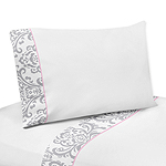 4 pc Queen Sheet Set for Pink, Gray and White Elizabeth Bedding Collection by Sweet Jojo Designs