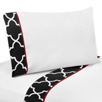4 pc Queen Sheet Set for Red and Black Trellis Bedding Collection