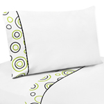 4 pc Queen Sheet Set for Spirodot Lime and Black Bedding Collection by Sweet Jojo Designs