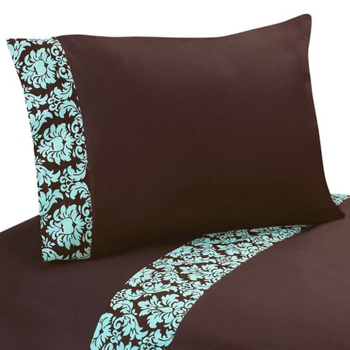4 pc Queen Sheet Set for Turquoise and Brown Bella Bedding Collection - Click to enlarge