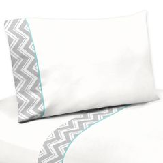 4 pc Queen Sheet Set for Turquoise and Gray Chevron Zig Zag Bedding Collection by Sweet Jojo Designs