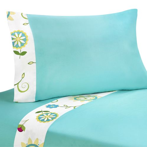 4 pc Queen Sheet Set for Turquoise and Lime Layla Bedding Collection - Click to enlarge