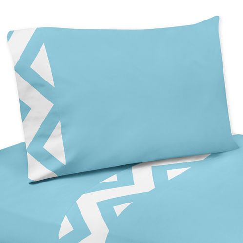 4 pc Queen Sheet Set for Turquoise and White Chevron Bedding Collection - Click to enlarge