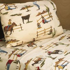 4 pc Queen Sheet Set for Wild West Cowboy Bedding Collection