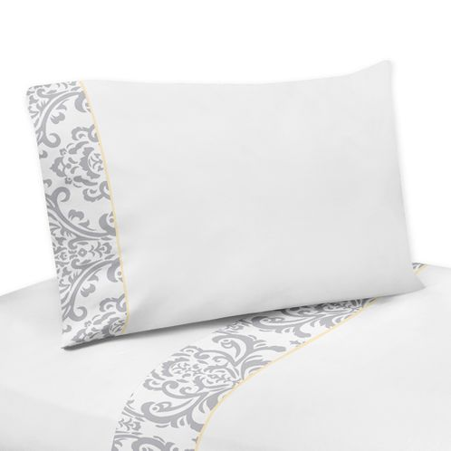4 pc Queen Sheet Set for Yellow and Gray Avery Bedding Collection by Sweet Jojo Designs - Click to enlarge