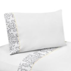 4 pc Queen Sheet Set for Yellow and Gray Avery Bedding Collection by Sweet Jojo Designs