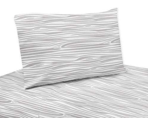 4 pc Wood Grain Print Queen Sheet Set for Navy and White Woodland Deer Bedding Collection by Sweet Jojo Designs - Click to enlarge