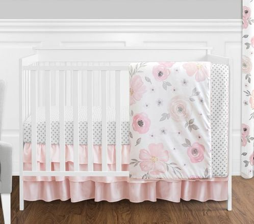 4 pc. Blush Pink, Grey and White Watercolor Floral Baby Girl Crib Bedding Set without Bumper by Sweet Jojo Designs - Rose Flower Polka Dot - Click to enlarge