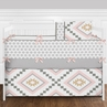 9 pc. Blush Pink and Grey Boho and Tribal Aztec Baby Girl Crib Bedding Set with Bumper by Sweet Jojo Designs