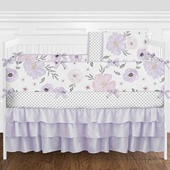9 pc. Lavender Purple, Pink, Grey and White Shabby Chic Watercolor Floral Baby Girl Crib Bedding Set with Bumper by Sweet Jojo Designs - Rose Flower Polka Dot