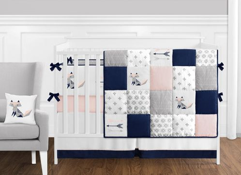 9 pc. Navy Blue, Pink, and Grey Patchwork Woodland Fox and Arrow Baby Girl Crib Bedding Set with Bumper by Sweet Jojo Designs - Click to enlarge