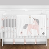 9 pc. Pink, Grey and Gold Unicorn Baby Girl Crib Bedding Set with Bumper by Sweet Jojo Designs