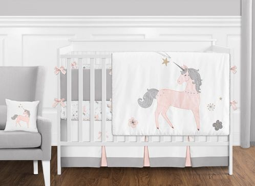 9 pc. Pink, Grey and Gold Unicorn Baby Girl Crib Bedding Set with Bumper by Sweet Jojo Designs - Click to enlarge