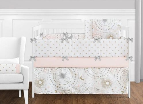 9 pc. Blush Pink, Gold, Grey and White Star and Moon Celestial Baby Girl Crib Bedding Set with Bumper by Sweet Jojo Designs - Click to enlarge