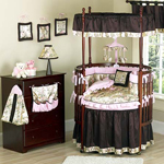 Abby Rose Asian Baby Bedding - 9 pc Round Crib Set