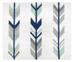 Accent Floor Rug for Grey, Navy Blue and Mint Woodland Arrow Collection by Sweet Jojo Designs