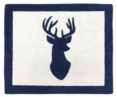 Accent Floor Rug for Navy and White Woodland Deer Collection by Sweet Jojo Designs