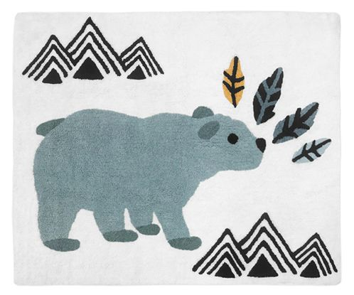 Bear Mountain Watercolor Accent Floor Rug or Bath Mat by Sweet Jojo Designs - Slate Blue, Yellow, Black and White - Click to enlarge