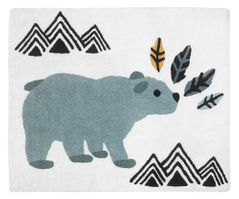 Bear Mountain Watercolor Accent Floor Rug or Bath Mat by Sweet Jojo Designs - Slate Blue, Yellow, Black and White