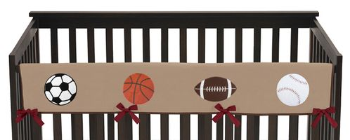 All Star Sports Baby Crib Long Rail Guard Cover by Sweet Jojo Designs - Click to enlarge