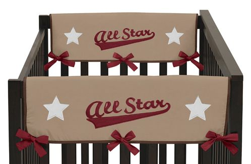 All Star Sports Baby Crib Side Rail Guard Covers by Sweet Jojo Designs - Set of 2 - Click to enlarge