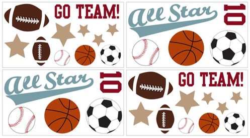 All Star Sports L And Stick Wall Decal Stickers Art Nursery Decor By Sweet Jojo Designs Set Of 4 Sheets