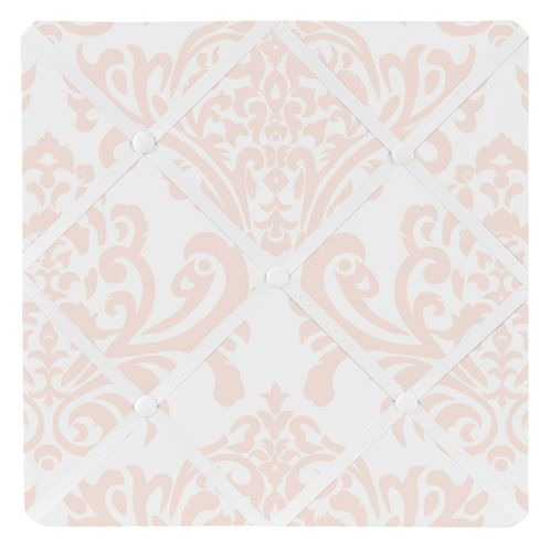 Amelia Blush Pink and White Damask Fabric Memory/Memo Photo Bulletin Board for Sweet Jojo Designs - Click to enlarge