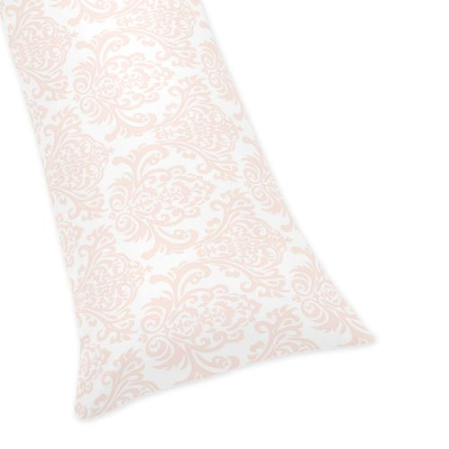 Amelia Blush Pink Damask Full Length Double Zippered Body Pillow Case Cover by Sweet Jojo Designs - Click to enlarge