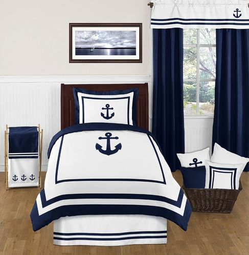 Anchors Away Nautical 4pc Twin Bedding Set - Click to enlarge
