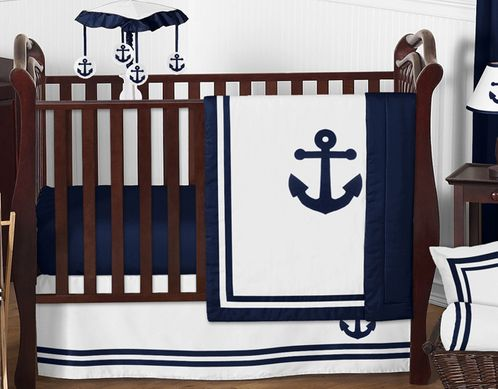Anchors Away Nautical Baby Bedding - 4pc Boys Crib Set by Sweet Jojo Designs - Click to enlarge