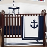 Nautical Anchor Baby Boy or Girl Nursery Crib Bedding Set by Sweet Jojo Designs - 4 pieces - Navy Blue and White Gender Neutral
