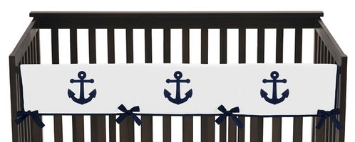 Anchors Away Nautical Baby Crib Long Rail Guard Cover by Sweet Jojo Designs - Click to enlarge