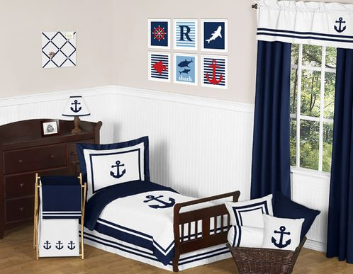 Anchors Away Nautical Toddler Bedding - 5pc Set by Sweet Jojo Designs - Click to enlarge