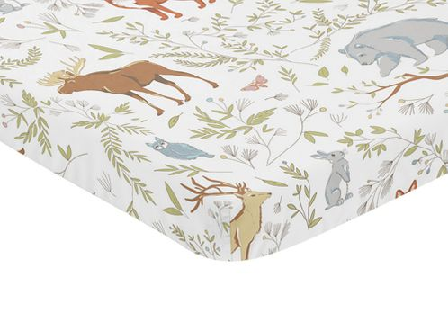 Animal Print Baby Fitted Mini Portable Crib Sheet for Woodland Toile Collection by Sweet Jojo Designs - Click to enlarge