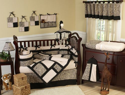 Animal Safari Pattern Jungle Baby Bedding - 9 pc Crib Set - Click to enlarge