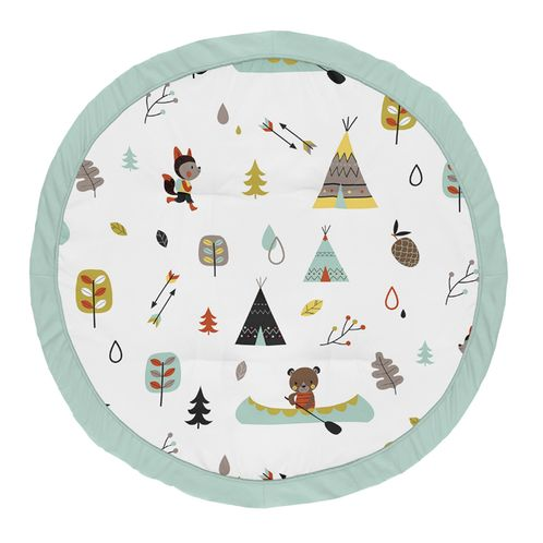 Aqua and Yellow Woodland Playmat Tummy Time Baby and Infant Play Mat for Outdoor Adventure Collection by Sweet Jojo Designs - Click to enlarge