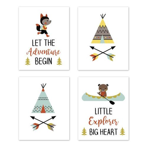 Aqua and Yellow Woodland Wall Art Prints Room Decor for Baby, Nursery, and Kids for Outdoor Adventure Collection by Sweet Jojo Designs - Set of 4 - Little Explorer - Click to enlarge
