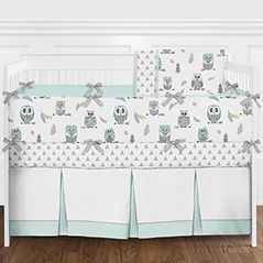 Aqua Blue and Grey Modern Woodland Owl and Arrow Boy or Girl Gender Neutral Baby Crib Bedding Set with Bumper - 9 Pieces