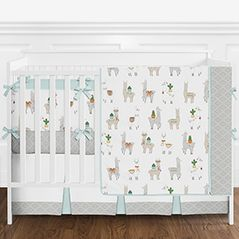 Aqua Blue, Taupe, Grey and White Boho Llama and Cactus Baby Boy or Girl Gender Neutral Crib Bedding Set with Bumper by Sweet Jojo Designs - 9 pieces