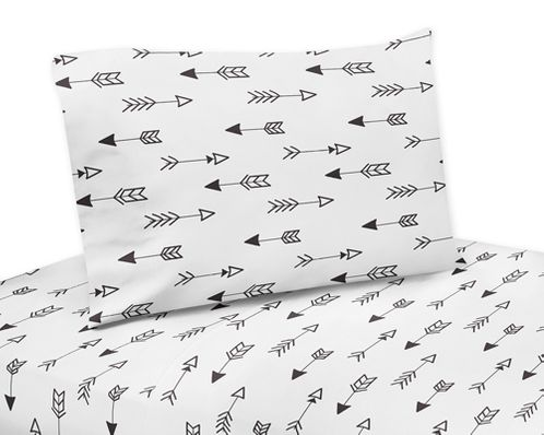 Arrow Print 4 pc Queen Sheet Set for Black and White Fox Bedding Collection by Sweet Jojo Designs - Click to enlarge