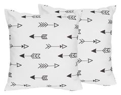 Arrow Print Decorative Accent Throw Pillows for Black and White Fox Collection - Set of 2