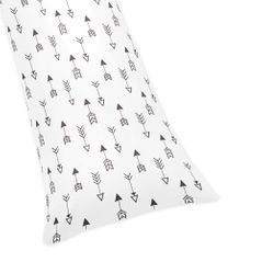Arrow Print Full Length Double Zippered Body Pillow Case Cover for Sweet Jojo Black and White Fox Collection