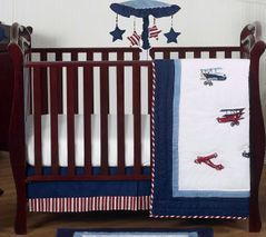 Aviator Airplane Baby Boy Nursery Crib Bedding Set by Sweet Jojo Designs - 4 pieces - Red, White and Blue Vintage