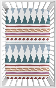 Aztec Boho Chic Girl Fitted Mini Crib Sheet Baby Nursery by Sweet Jojo Designs For Portable Crib or Pack and Play - Yellow Blue Gold Mauve Burgundy Purple Pink Modern Bohemian Southwestern Rustic Geometric Patterned Chevron Diamond Triangle